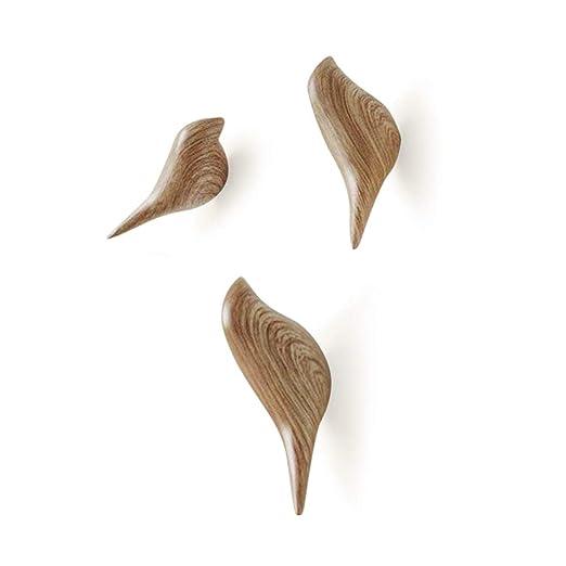 Baffect multiusos resina soporte de pared gancho percha soporte en diseño de pájaros para perchero sombrero toalla bolsa (3pack-wood)