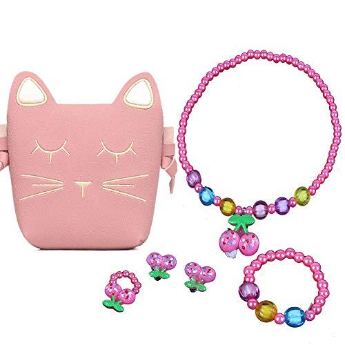 - Little Girls Pink Cute Cat Crossbody Bag Necklace Earrings Ring Bracelet Kids Toddler (Pink Cherry)