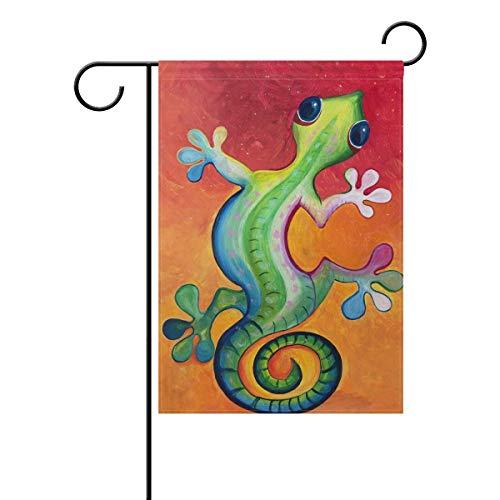 Gecko Pot Hanger - HOOSUNFlagrbfa Lizard Gecko Painting Garden Flag Yard Banner for Home Flower Pot Outdoor Decor 28x40 Inches
