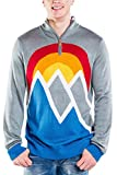Tipsy Elves Men's Retro Winter-Themed Ski Snow Zip-Up Sweaters for Guys (First Run (Grey), X-Large)