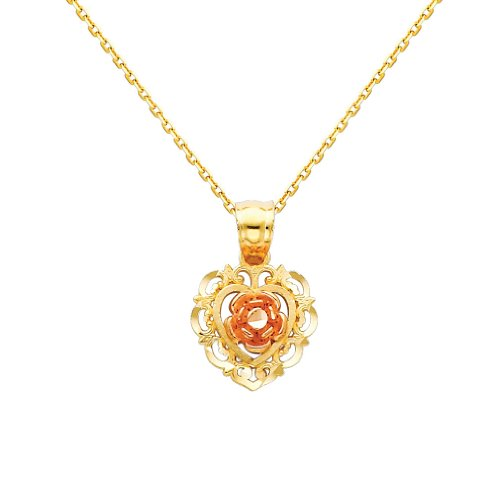3 Color Gold Polished Flower Charm Pendant with 0.9mm Oval Angled Cut Cable Chain Necklace - 18