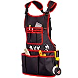 NoCry Heavy Duty Work Apron - 26 Tool Pockets, Tape Measure Holder, D Ring Loop, Black Waterproof Canvas, Adjustable for Men and Women XXS to XXXL