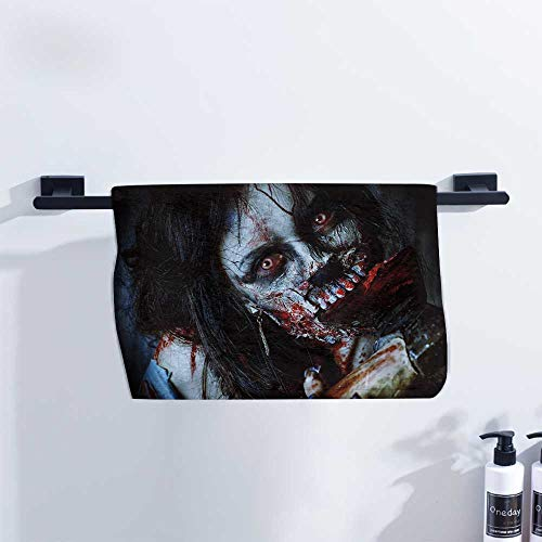 Zombie Decor Beach Towel Scary Dead Woman with Bloody Axe Evil Fantasy Gothic Mystery Halloween Picture Ultra Absorbent W10 x L10 Multicolor