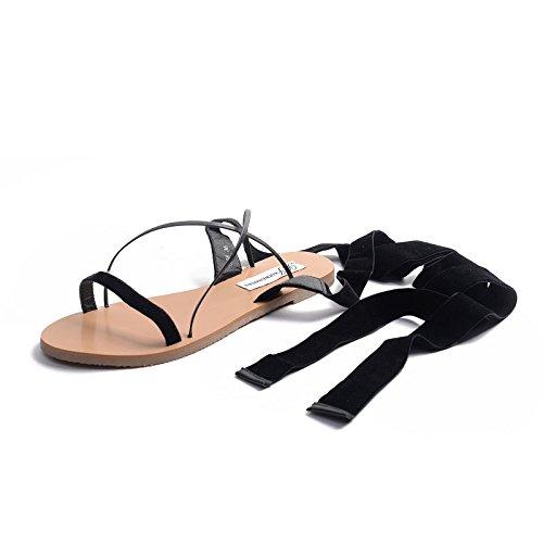ZHZNVX Sandalias de correa fina, correas cruzadas, zapatos planos Red