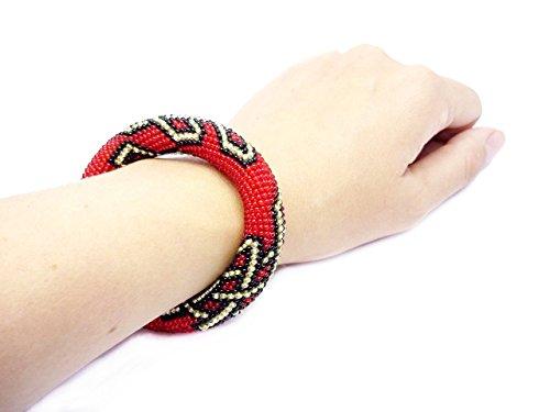 HANDMADE Red golden black bracelet Bead rochet rope jewelry node fortune lucky handmade ethnic celtic knot amazing bib gift idea for women