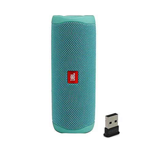 JBL Flip 5 Waterproof Portable Wireless Bluetooth Speaker Bundle with USB 2.0 Bluetooth Adapter - Teal (Jbl Flip Ii Wireless Portable Stereo Speaker)