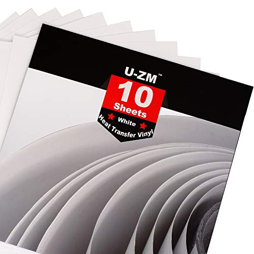 U-ZM Heat Transfer Vinyl White, 10 Sheets, 12x12, HTV Iron On Vinyl for Cricut and Silhouette Cameo