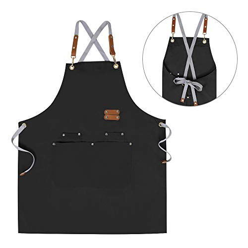 Chef Apron,Cross Back Apron for Men Women with Adjustable Straps and Large Pockets,Canvas,M-XXL, Black