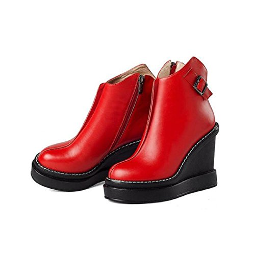 Round RED Waterproof Women's Naked Winter Leather Bootie Head 38 Wedges High Boots Buckle Belt Platform TfOUqOxwt