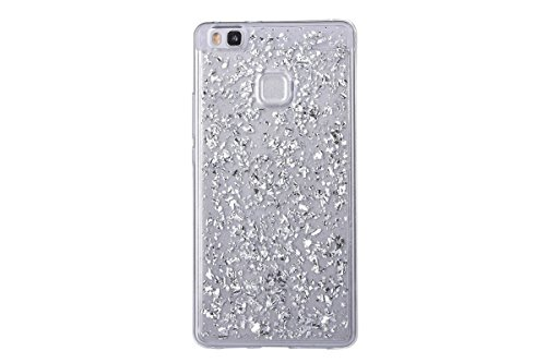 Price comparison product image Huawei P10 Lite Case, Moonmini Slim Fit Luxury Bling Glitter Sparkling Shiny Flexible Soft TPU Gel Gold Foil Protective Back Case Cover Silver