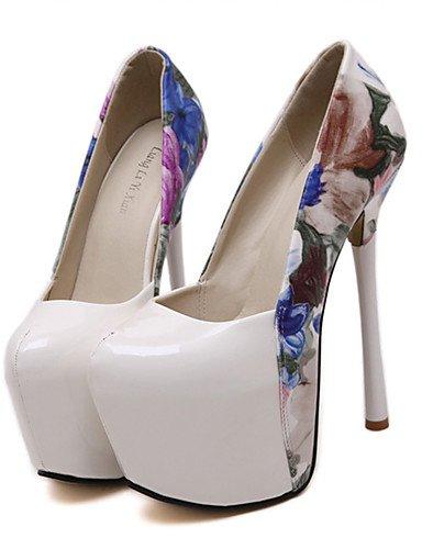 Party Heels Stiletto Patent Flower Toe GGX Rund Heel 5 Abend Schuhe black eu38 schwarz us7 5 amp; weiß Kleid Leder cn38 Heels Fall Damen uk5 AW8qz
