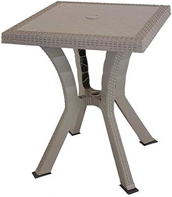 Salone-negozio-online Mesa Resina Figaro 80 x 80 x 72h Pardo ...