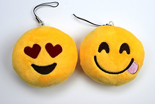 Syleia Emoji Set of 2 Smiling Face Heart-Shaped Eyes and Face With Stuck-Out Tongue Yellow Bright Plush Toy, Backpack Purse Accessory, Party Favor, - Heartshaped Face