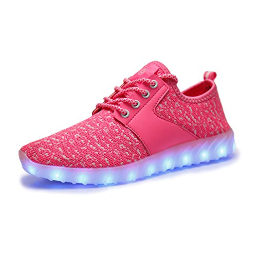 O & N Mens Womens Led Light Up Shoes Coppie Sneakers Lampeggianti Rosa