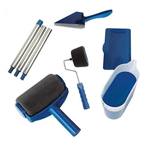 Scarecrew Paint Brush Roller Kit,Roller Paint Brush Handle Tool Flocked Edger for Home Office Room Tool (8Pcs)