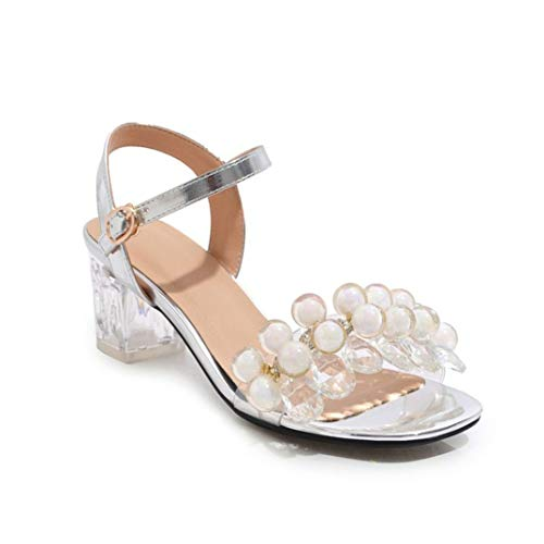 Women Beading PVC Sandals Summer Shoes Buckle Crystal Heels Party Solid Colors Dress Shoes Large Size 48 Silver