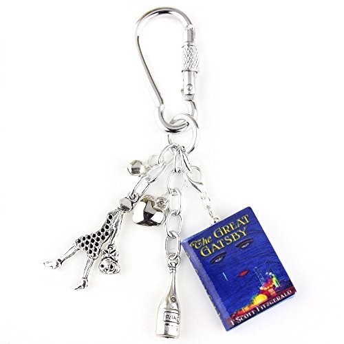 THE GREAT GATSBY F. Scott Fitzgerald Clay Mini Book Key Chain Bag Purse Backpack Clip by Book Beads ✯OFFICIALLY - Eye Fast Snap Baby
