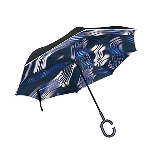 (WBSNDB Double Layer Inverted Structure Blue Umbrellas Reverse Folding Umbrella Windproof Uv Protection Big Straight Umbrella For Car Rain Outdoor With C-shaped Handle)