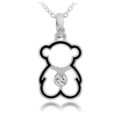 (Trendy Cute Bear Necklaces Pendant   Gold Inlaid Zircon Necklace   Fashion Long Pendant Necklace   for Women )