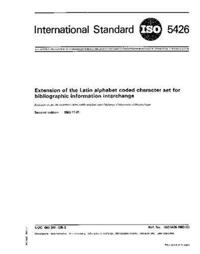 Download ISO 5426:1983, Extension of the Latin alphabet coded character set for bibliographic information interchange pdf