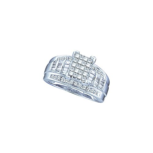 Sonia Jewels Size 7-10k White Gold Ladies Womens Princess Cut Baguette Round Diamond Ring (1/2 cttw.)