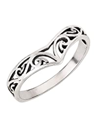 Pointed Filigree Ring Sterling Silver 925 (Sizes 4-10)