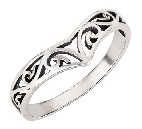 (CloseoutWarehouse Sterling Silver Pointed Filigree Ring Size 8)