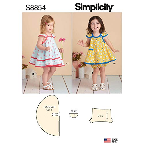 Simplicity US8854A Pattern S8854 Toddlers' Pinafore and Panties, A (A (1/2-1-2-3-4) (Dress Pattern Pinafore)