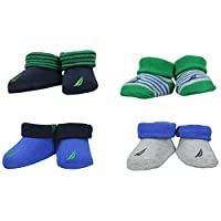 Nautica Baby Boys' 4 Pack Assorted Booties, Green/Blue, 0-6 Months