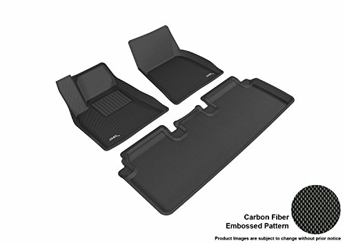 3D MAXpider Complete Set Custom Fit All-Weather Floor Mat for Select Tesla Model S Models - Kagu Rubber (Black)