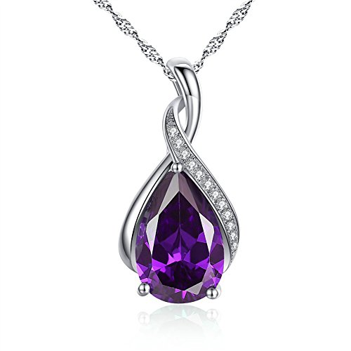 Mabella Sterling Silver Simulated Amethyst Birthstone Pendant Necklace Jewelry, Valentines Day Gifts for (Amethyst Pendant Jewelry)