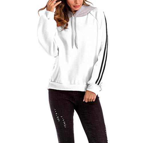 Sweat Tops Bloc Shirt Taille BaZhaHei Couleur Lâches Blouse Sweat Blanc De Pull Grande Ample à à Femmes Rayures Capuche Casual tpYvZ