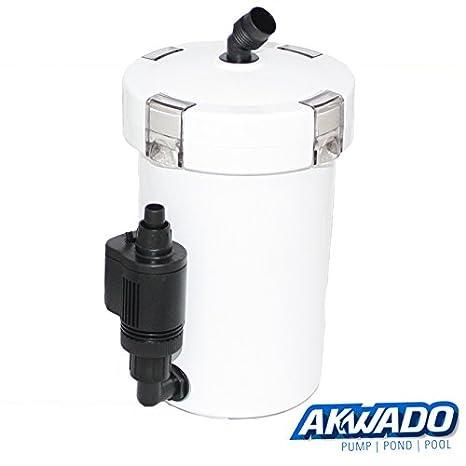 akwado Acuario Filtro exterior 400 L/h de 3 niveles con filtro material Incluye Bomba