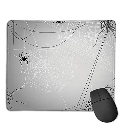 Premium-Textured Mouse Mat,Non-Slip Rubber Mousepad Waterproof,Spider Web,Spiders Hanging from Webs Halloween Inspired Design Dangerous Cartoon Icon Decorative,Grey Black White,Applies to Games,Home -