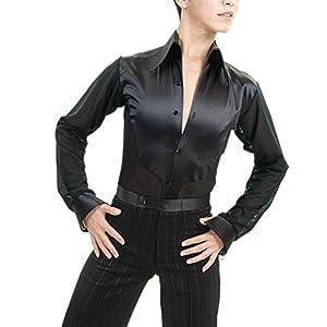 JS CHOW Men's Ballroom Latin Salsa Smooth Rhythm Dance Shirt Top with Attached Shorts
