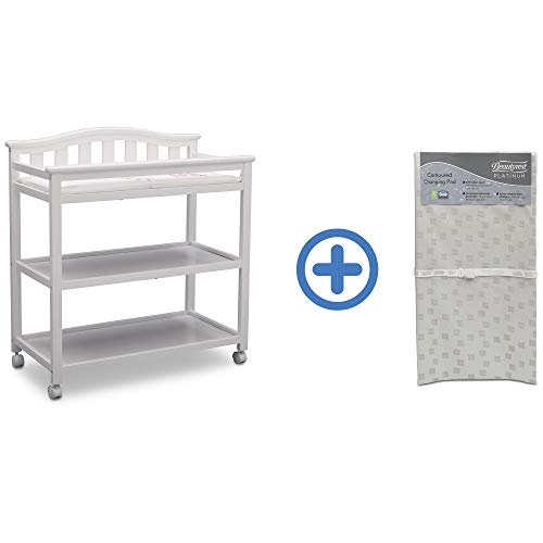 Cheapest Prices! Delta Children Bell Top Changing Table with Casters, Bianca (White) and Waterproof ...