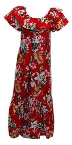 Jade Fashions Inc. Women Hawaiian Long Double Ruffle Red Orchid Muumuu-Red-L