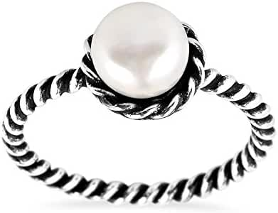 Sweet Cultured Freshwater White Pearl Band Twist .925 Sterling Silver Ring