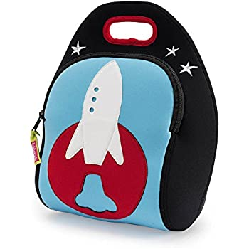 Dabbawalla Bags Out of this World Rocket Kids' Insulated Washable & Eco-Friendly Lunch Bag Tote Black/Blue