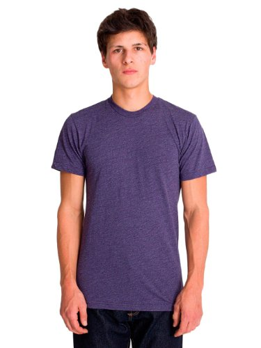 American Apparel Poly-Cotton Short Sleeve Crew Neck - Heather Imperial Purple / XL