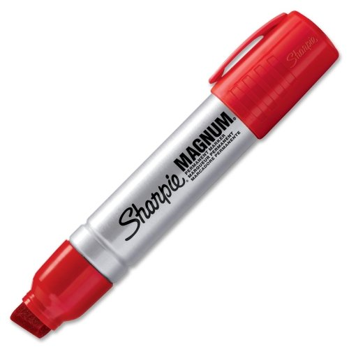 Sharpie Magnum Permanent Marker - 15.9 mm Marker Point Size - Chisel Marker Point Style - Red Ink - Silver Barrel - 1 Each