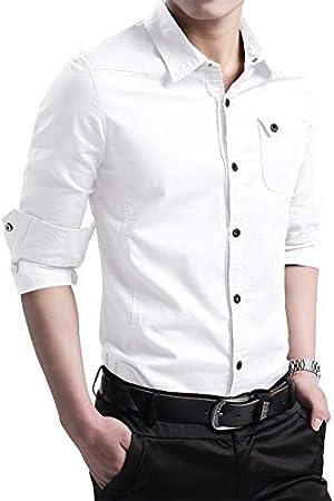 RSL Masculina Camisa de Manga Larga Coreana Delgada Camisa de algodón Ocasional y el algodón Terciopelo Joven Desgaste Externo Salvaje Tierra Suelta (Color : White, Size : 5XL): Amazon.es: Hogar