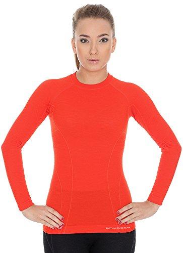 Brubeck T-Shirt en Laine merinos Pour Femme, Couleur Terre Cuite, Taille M, LS12810, Active Wool