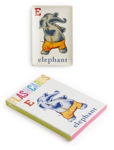 Rosanna 94869 Flashcard Elephant Tray, White/Pewter/Orange/Red