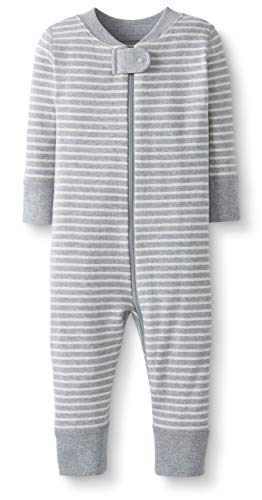 Moon and Back by Hanna Andersson Baby/Toddler One-Piece Organic Cotton Footless Pajamas, Gray Stripe, 18-24 months