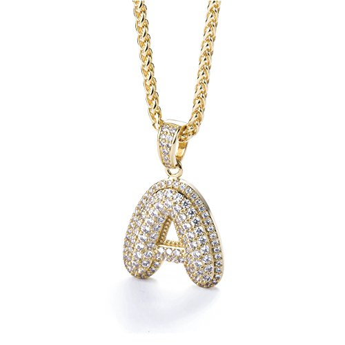 Meow Star Initial Letter Necklace for Woman Man Micropave Simulated Diamond Bubble Letters Pendant Necklace -