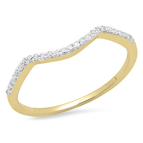 Ring Guards Yellow Jewelry - Dazzlingrock Collection 0.12 Carat (ctw) 14K Round Cut Diamond Ladies Wedding Band Contour Guard Ring, Yellow Gold, Size 7