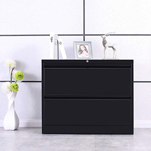 ModernLuxe Heavy-Duty Lateral File Cabinet (Black, 2-Drawers:35.4W17.7D28.4H) (Heavy Duty File Cabinets)