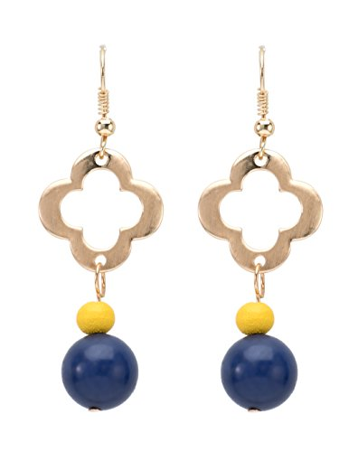 Occasionally Made Clover Beaded Earring, Navy/Yellow