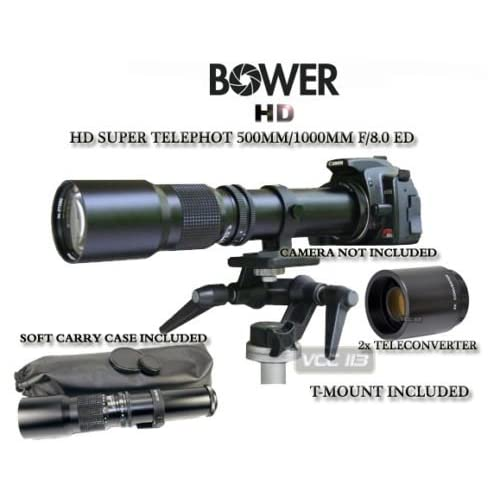 Bower 500mm/1000mm f/8 MF Telephoto Lens for Canon EOS T5i 700D T4i 650D 1D Mark IV 5D Mark II 60Da 60D 50D 40D 30D 20D 10D 7D EOS-1D X T3I T2i T1i 600D 550D 500D 400D XS XSi T1i XTi XSi 450D 1000D 1100D